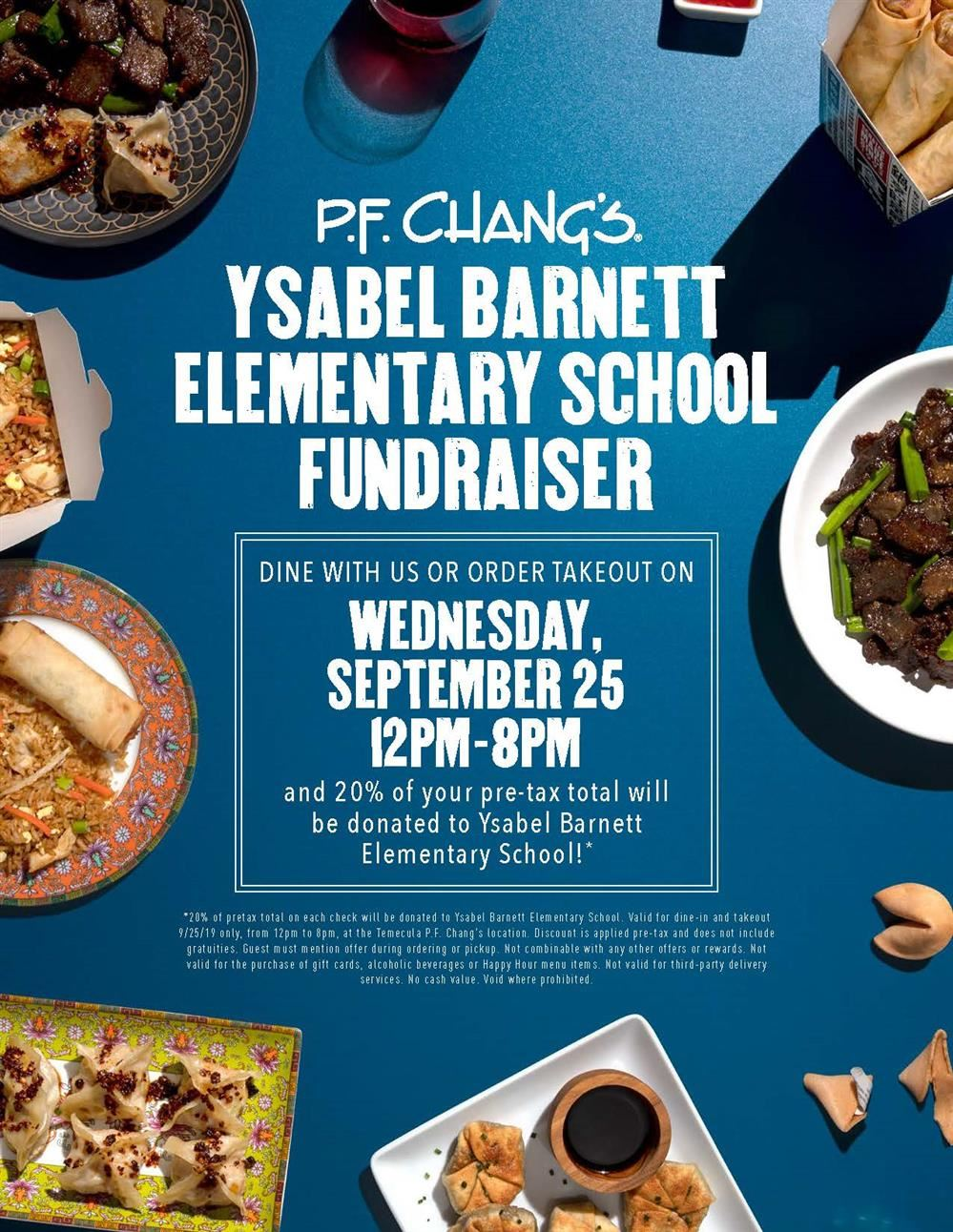 P.F. Chang's Fundraiser September 25th