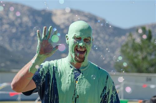Mr. Evans is slimed