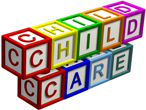 "Blocks stacked that spell ""child care"""