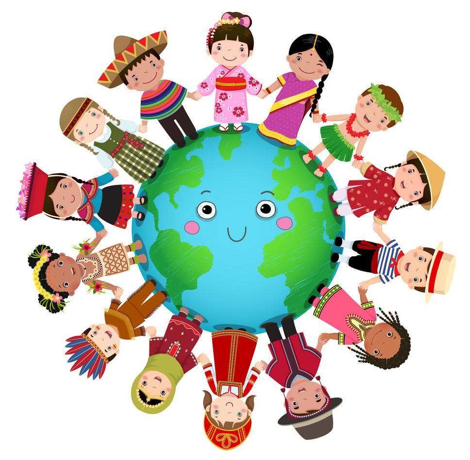 multicultural children holding hands around a globe