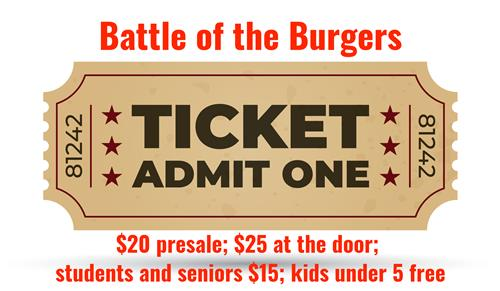 Battle of the Burgers Ticket Prices and Ticket Stub