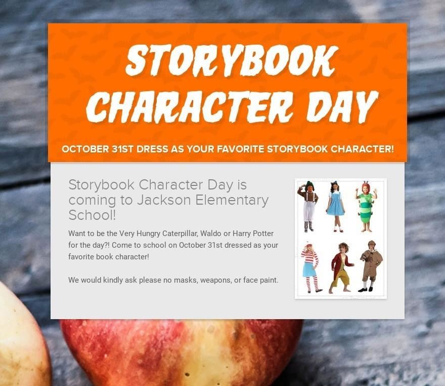 Storybook Character Day is coming Oct 31st
