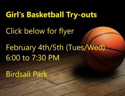 Girls basketball tryout flyer