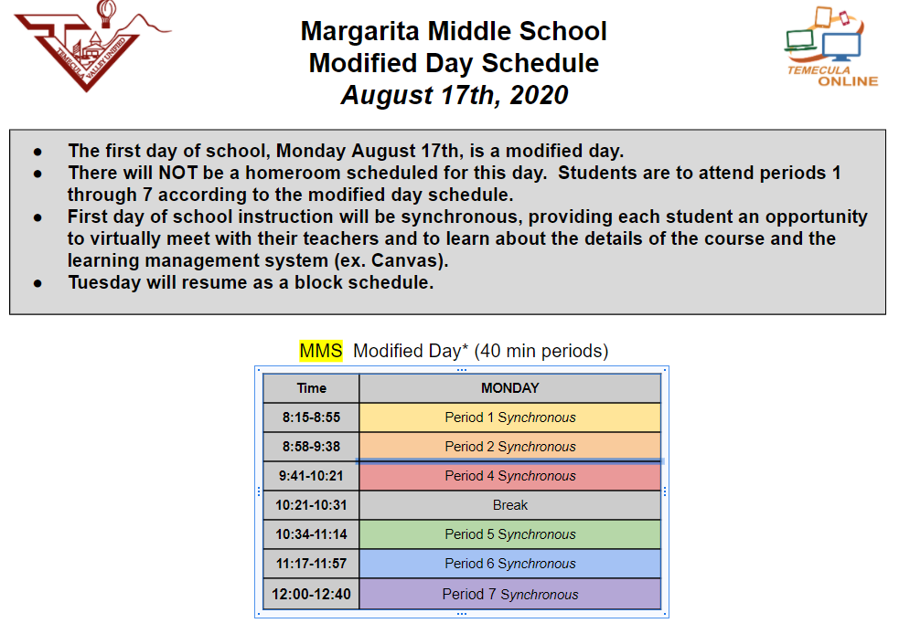 Modified Day Online Learning Schedule