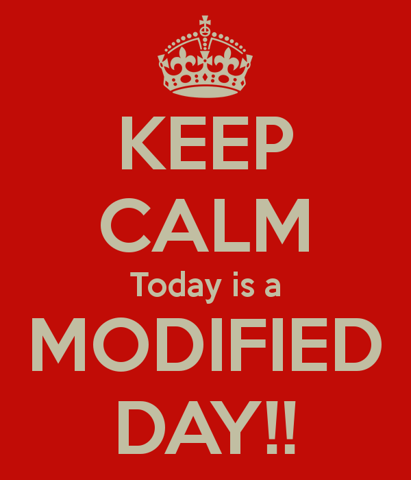 Modified Day 12/21 12:25 dismissal