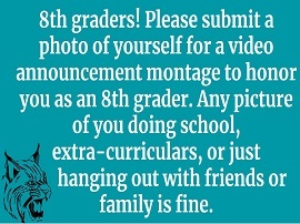8th Graders!  Submit photo of yourself