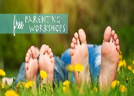 Free parenting workshop with picture of kids feet and adults feet