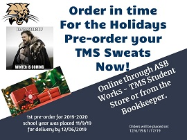 Pre-Order your TMS Sweats now.  Order in time for the holidays.