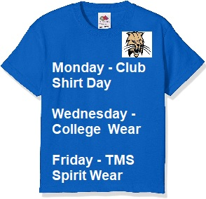 Image of blue t-shirt stating spirit wear days.