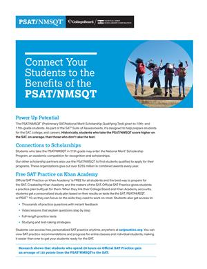 Click the link below to view the PSAT/NMSQT Benefits flyer