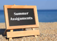 picture of chalk board with summer assignment on beach
