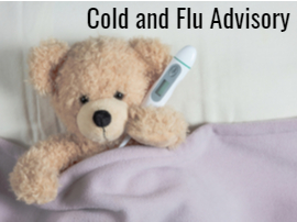 Cold and flu advisory teddy bear with thermometer