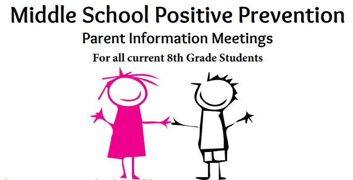 Middle School Positive Prevention Parent Night with two children
