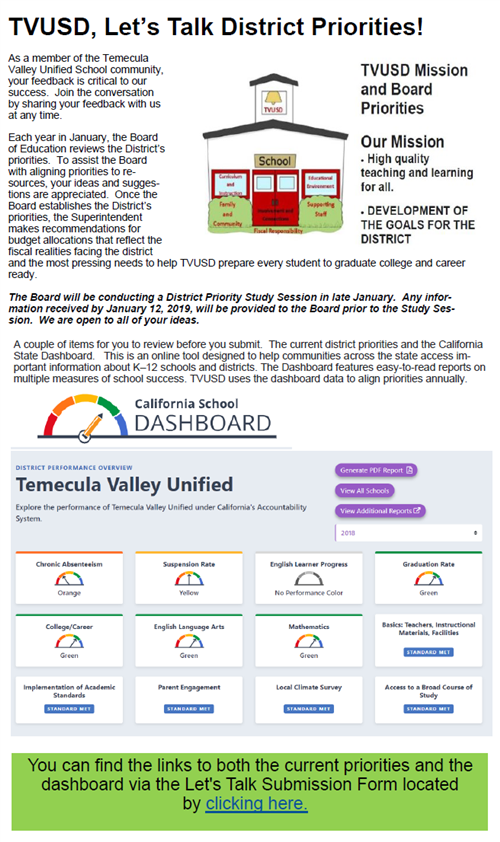 flyer with same text information about process and input and graphics of tvusd school house priorities logo and dashboard