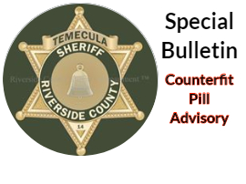 sheriff department advisory re: counterfit pills