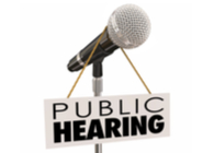 public hearing with a microphone