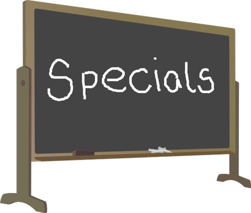 "chalkboard with ""specials"" written on it"