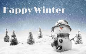"snowman in snow with pine trees and snow falling with words saying ""Happy Winter"""