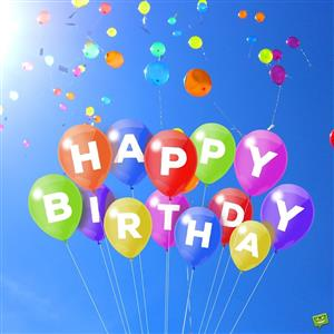 Happy Birthday blue background with multi colored birthday balloons floating