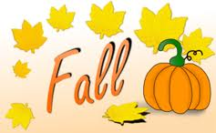The word Fall with yellow leaves and an orange pumpkin