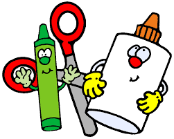 Cartoon picture of a green crayon, glue bottle, and pair of scissors