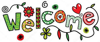 Welcome sign with different colors. Has flowers and hearts.