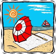 Sandy Beach with a towel, red and white umbrella, and a sailboat