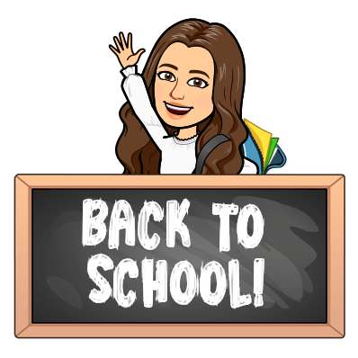 "Mrs. Williams Bitmoji with a sign that says ""Back to School""."