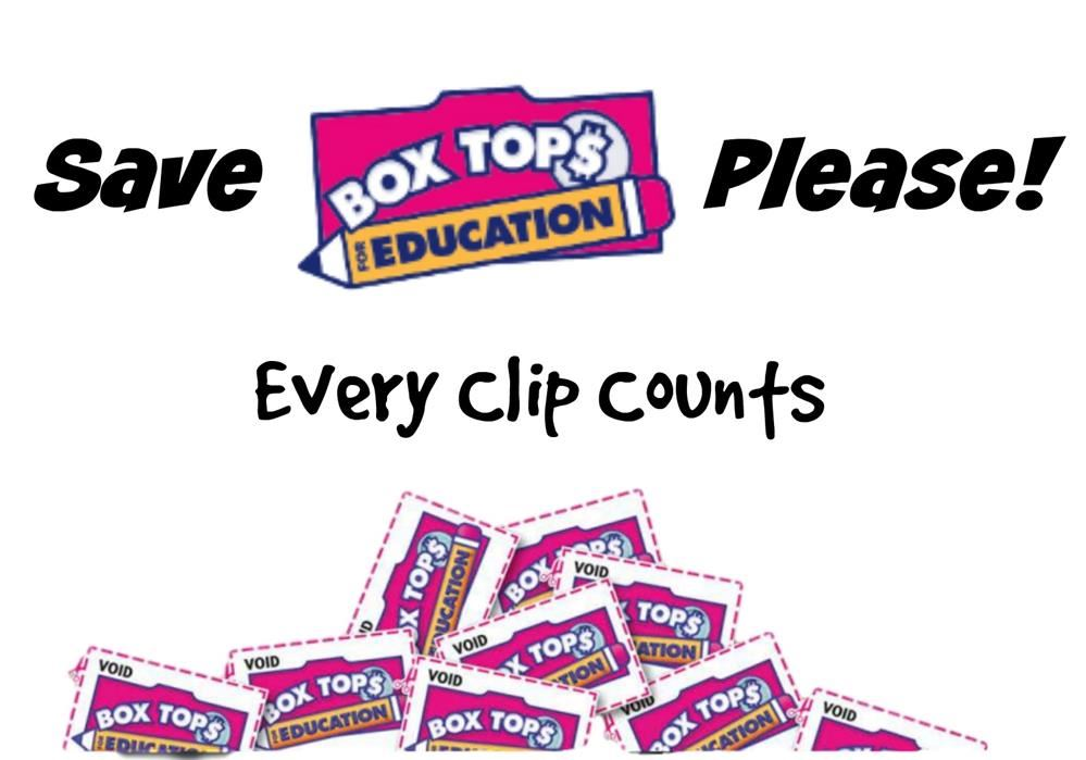"Photo Description:  A pile of box tops. The text says, ""Save Box Tops For Education Please! Every Clip Counts."""