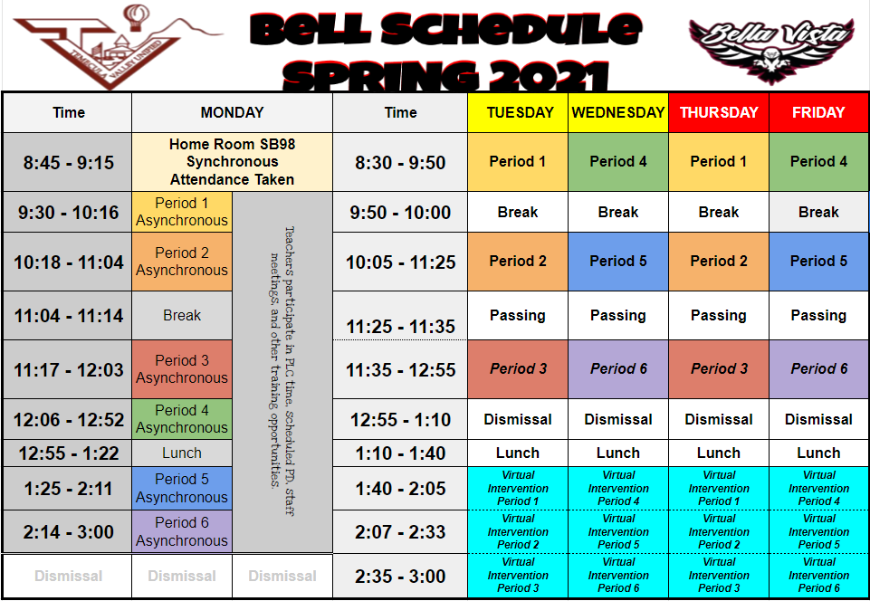 Thursday, October 15th, Modified Day Schedule