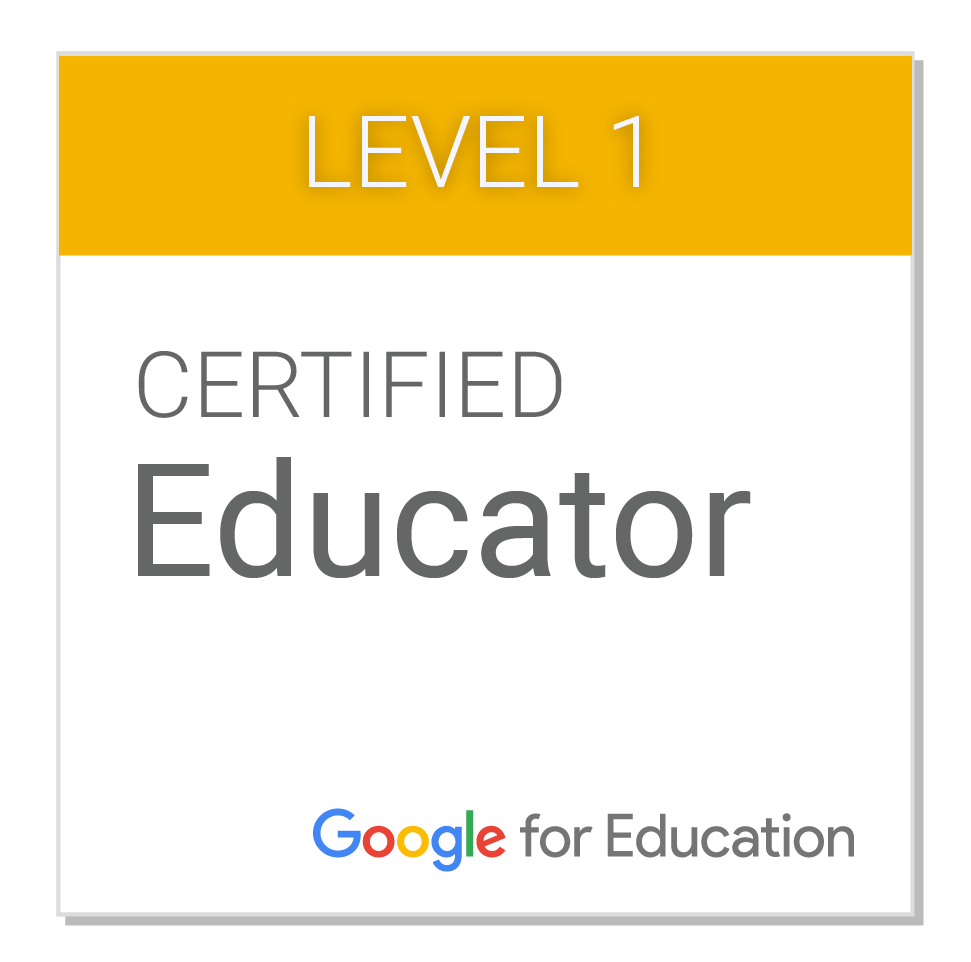 Level 1 Google Certified Educator image from Google for Education