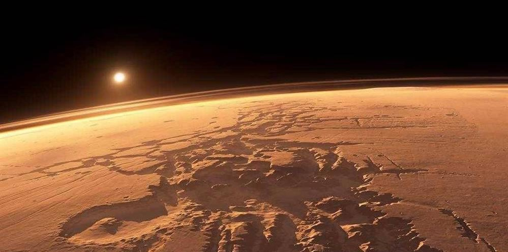 Mars as seen from its atmosphere.