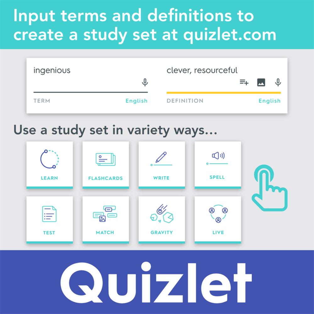 Quizlet is an online tool for practicing vocabulary.