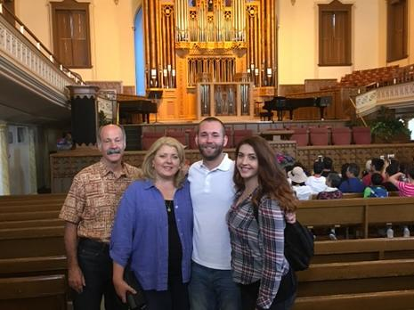 The Rasband family visiting the Assembly Hall in Temple Square, Salt Lake City, Utah.  The Assembly Hall was built in 1877.