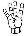 The number four in the ASL manual alphabet