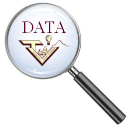 magnifying glass graphic with TVUSD logo and word data inside
