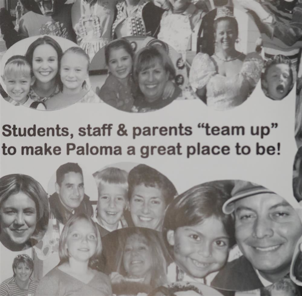 Photo of students, teachers, and family members from first yearbook.