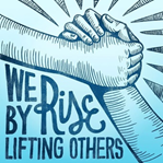 "two people holding hands with saying ""we rise by lifting others"""
