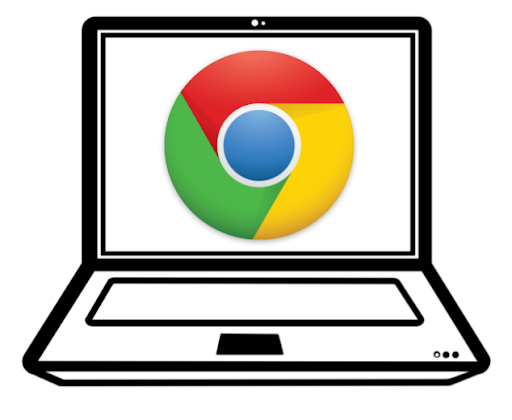 chromebook computer with chrome symbol