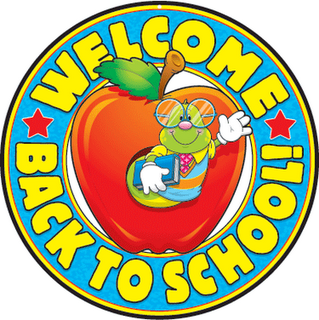 worm in and apple with text saying welcome back to school
