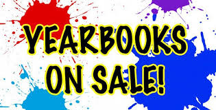 "splattered paint on background with words saying ""yearbooks on sale!"""