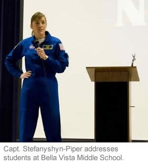 Captain Stefanshyn-Piper addresses students at Bella Vista Middle School