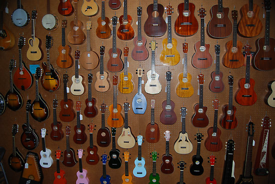 Wall of ukuleles