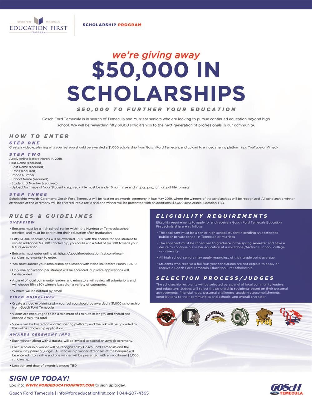 GOScH Ford Temecula Awarding 50 Scholarships to Local high School Seniors!