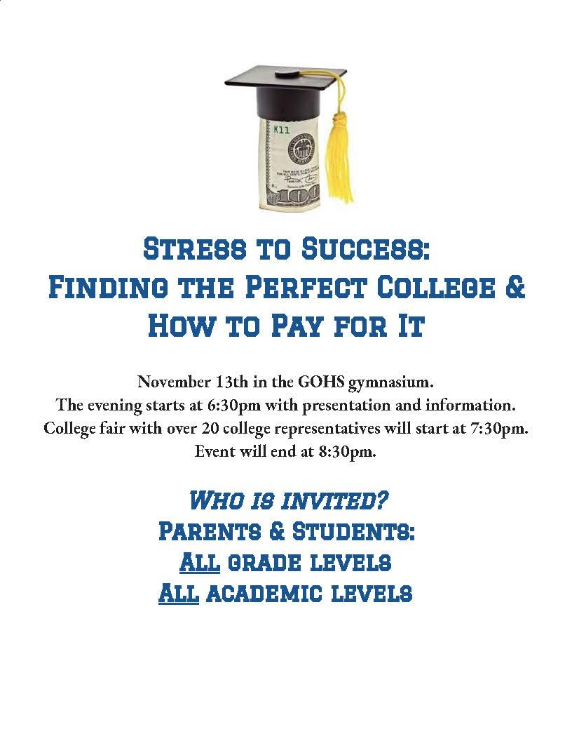 Stress To Success: Finding the Perfect College and How to Pay for it.