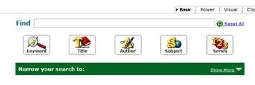 Picture of library catalog menu bar