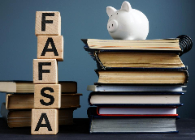 picture of piggy bank with block letters spelling FAFSA