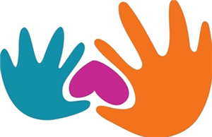 A small blue hand and a large orange hand holding an upside down red heart.