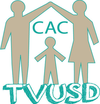 CAC Logo of 2 adults holding hands over a child and the TVUSD Logo