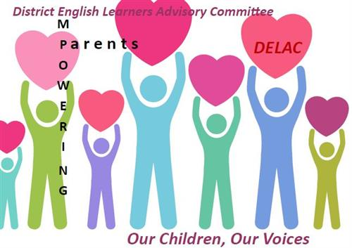 DELAC logo with colorful people figures holding hearts